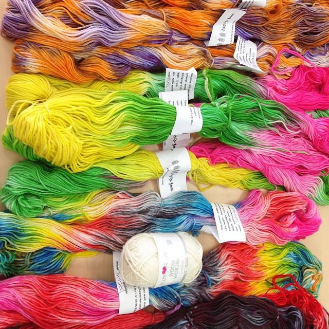 #yarn porn courtesy of @ladydyeyarns @eweeweyarns as seen at @unwind_yarn #knitting #rainbow
