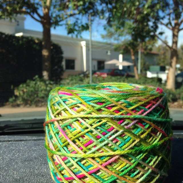 One more pic if this glorious @stimpylab yarn. I put it on my dashboard to stare at while I drove.  #knitting #knittersofinstagram #twistedstitches