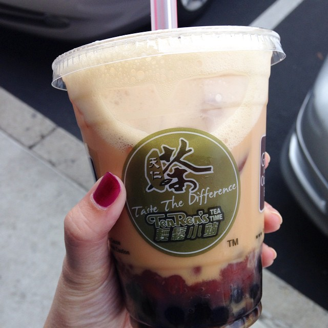 Trying out a new tea place. Got mine with #boba and red bean. My thumb looks kinda freakish here.