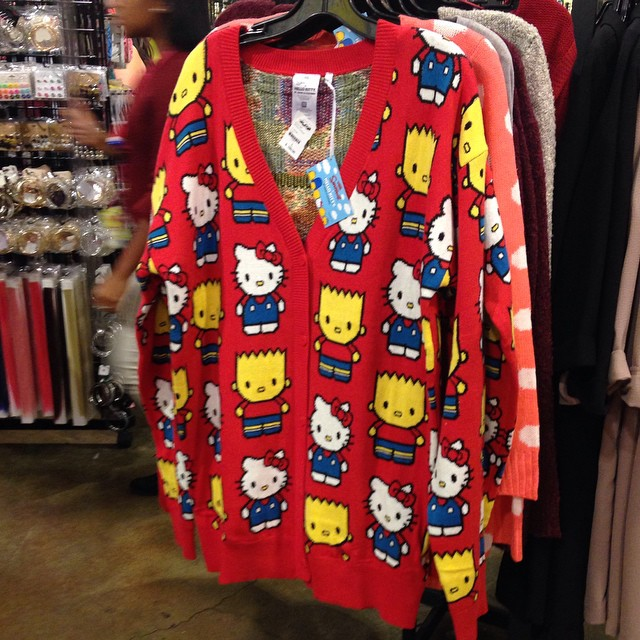 Spotted this awesome #knit sweater featuring #TheSimpsons and #HelloKitty. Too bad it was over $100. #knitting #twistedstitches